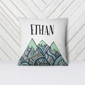 Wall and Wonder Pillow Customized Name Throw Pillow Cover - Tribal Mountains - Boy Nursery