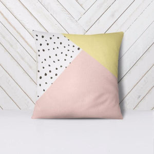 Wall and Wonder Pillow Geometric Abstract Throw Pillow Cover - Yellow and Pink