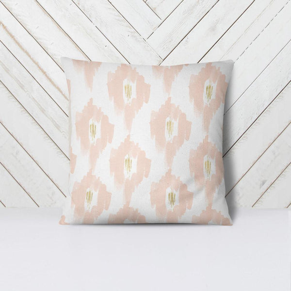 Wall and Wonder Pillow Ikat Pillow Cover - Blush and gold
