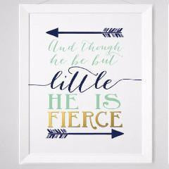 Wall and Wonder Wall Prints And though he be but little he is fierce - Navy Mint Gold Wall Print