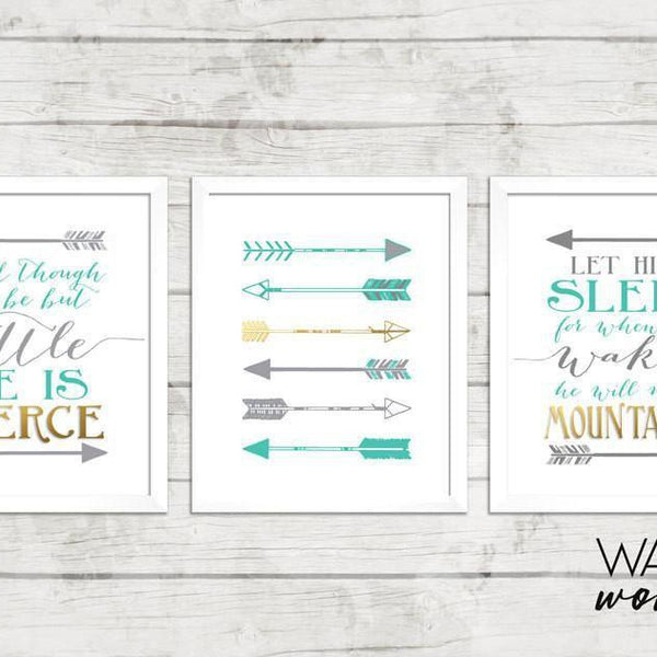 Wall and Wonder Wall Prints And though he be little - Let he sleep - Arrows Wall Art - Set of 3 - Teal and Gray