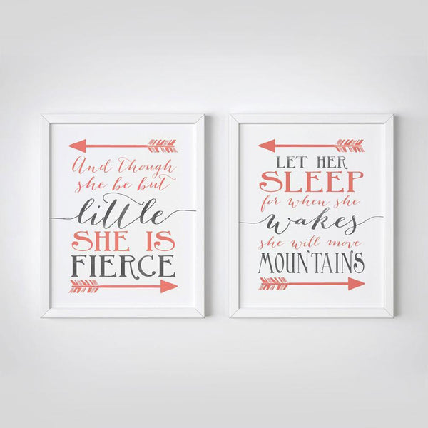 Wall and Wonder Wall Prints And though she be but little - Let her sleep - Coral and Gray Nursery Print  - Set of 2