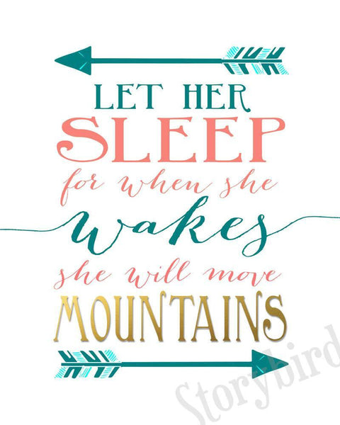 Wall and Wonder Wall Prints And though she be but little - Let her sleep Nursery Prints - Teal Coral