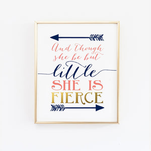 Wall and Wonder Wall Prints And though she be but little she is fierce - Navy and Coral Nursery Print