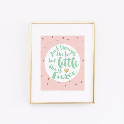 Wall and Wonder Wall Prints And though she be but little she is fierce - Triangles in Pink Gold Mint