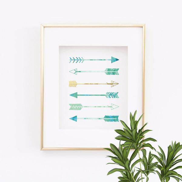 Wall and Wonder Wall Prints Arrows - Sea foam Green, Blue and Gold
