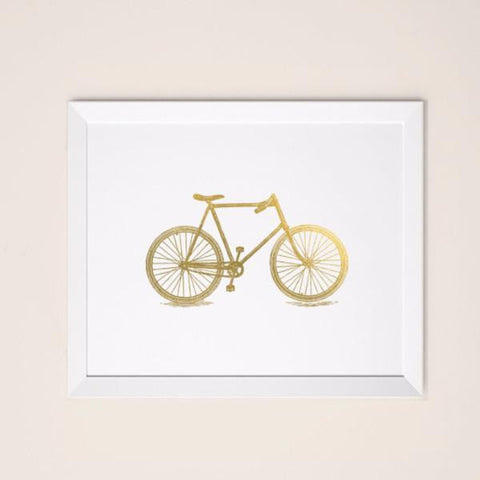 Wall and Wonder Wall Prints Bike Print - Faux Gold Foil Print