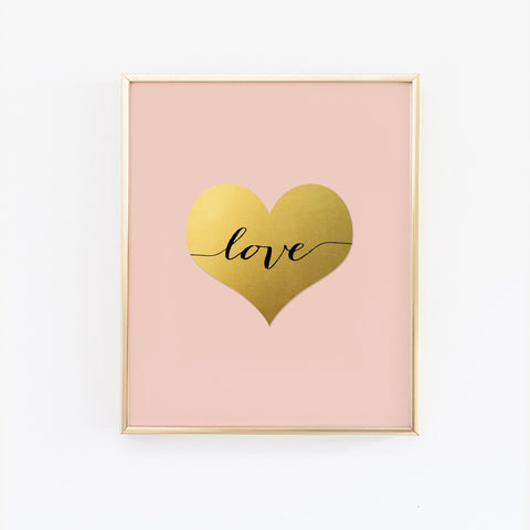 Wall and Wonder Wall Prints Blush Gold Heart - Faux Gold Foil Wall Print