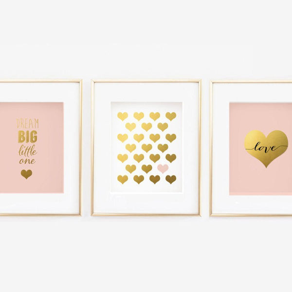 Wall and Wonder Wall Prints Blush Nursery Gallery Wall Set of 3 (Dream Big/Hearts/Love)