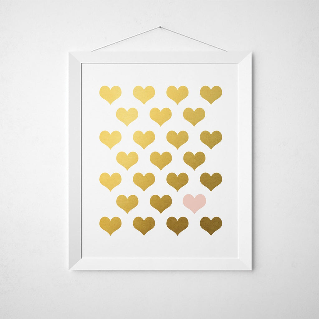 Blush Pink Gold Hearts - Faux Gold Foil Wall Art
