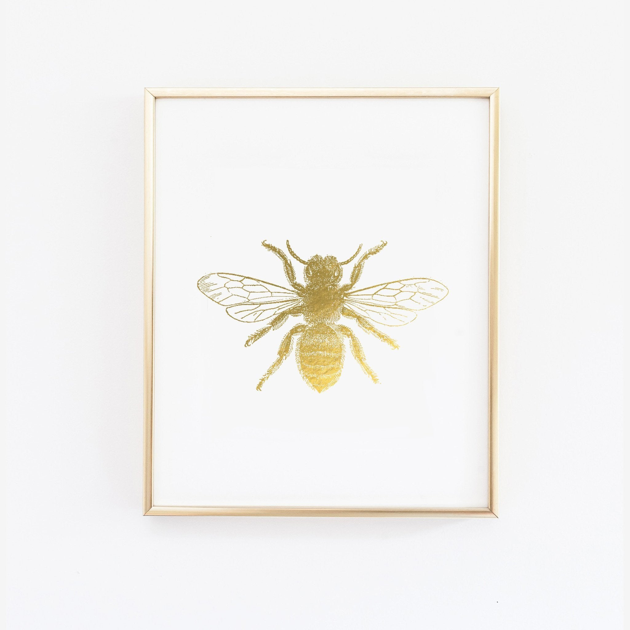 Wall and Wonder Wall Prints Bumble Bee  - Faux Gold Foil Wall Print