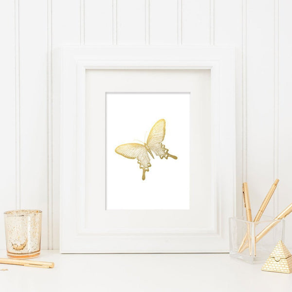 Wall and Wonder Wall Prints Butterfly Art Faux Gold Foil - Wall Print