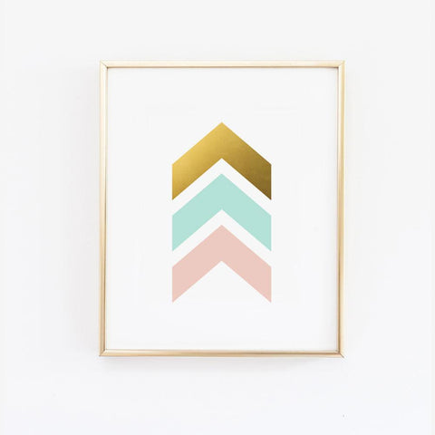 Wall and Wonder Wall Prints Chevron Arrows Print - Pink Mint and Gold Wall Print