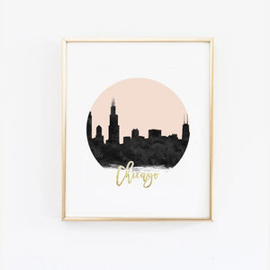 Wall and Wonder Wall Prints Chicago Skyline Wall Print