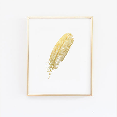 Wall and Wonder Wall Prints Feather Faux Gold Foil Wall Print