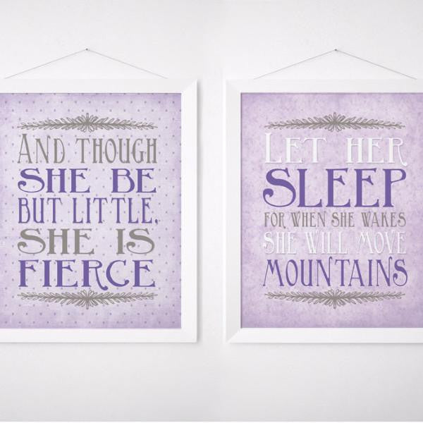 Wall and Wonder Wall Prints Fierce/Sleep in Purple Nursery Prints - Set of Two