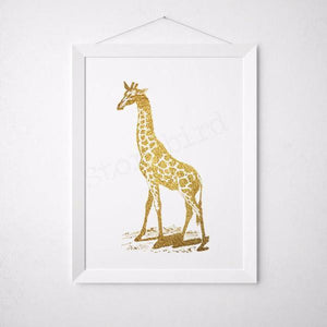 Wall and Wonder Wall Prints Giraffe Print - Faux Gold Foil - Wall Art