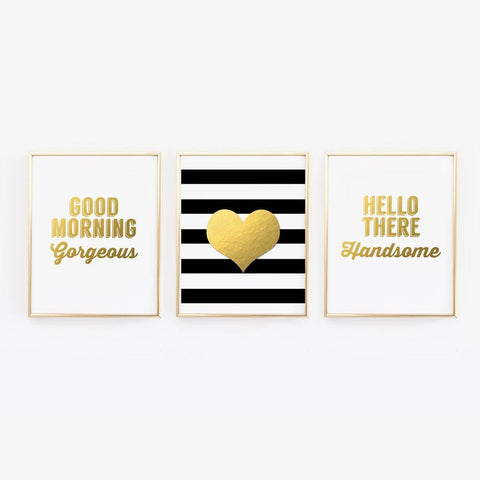Wall and Wonder Wall Prints Good Morning Gorgeous, Hello There Handsome, Heart - Set of 3 wall prints