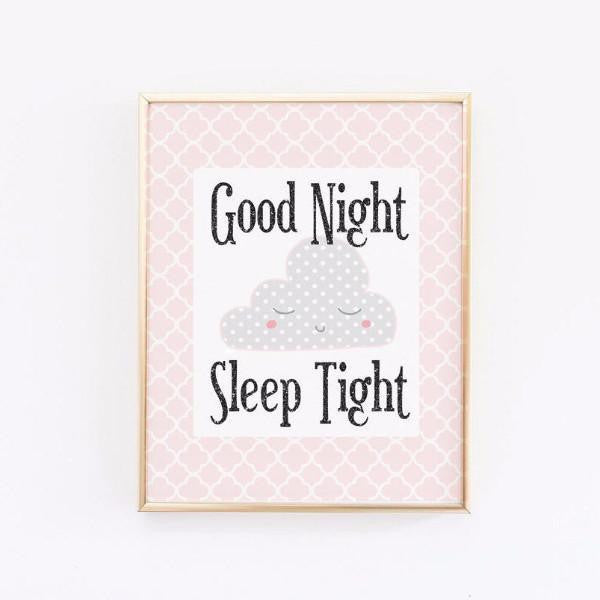 Wall and Wonder Wall Prints Good Night Sleep Tight Print - Pink and Grey Nursery
