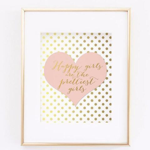 Wall and Wonder Wall Prints Happy Girls are the Prettiest Girls - Blush Pink Wall Art