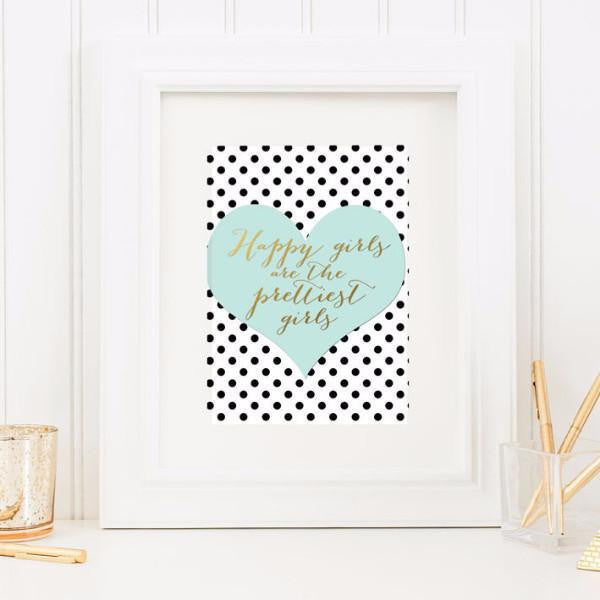 Wall and Wonder Wall Prints Happy Girls are the Prettiest Girls - light teal and black