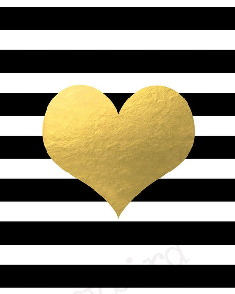 Wall and Wonder Wall Prints Heart on Black and White Stripes -  Faux Gold Foil Wall Art