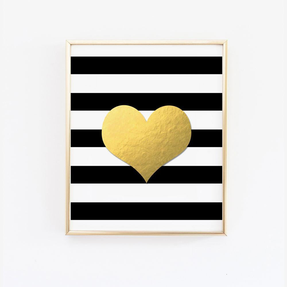 Heart on Black and White Stripes - Faux Gold Foil Wall Art