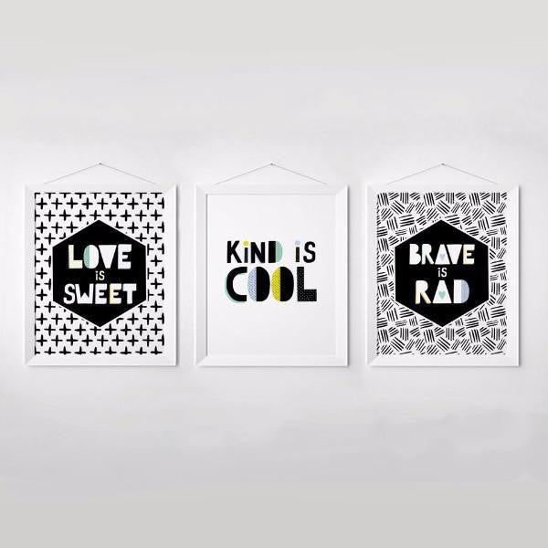 Wall and Wonder Wall Prints Kind is Cool Set - Black and White - Monochrome Boys Wall Prints