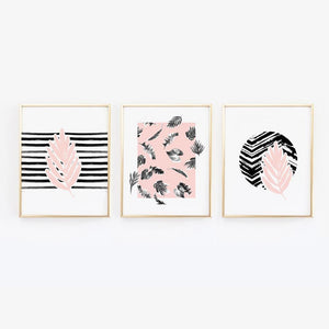 Wall and Wonder Wall Prints Leaves on Pink - Set of Three wall prints