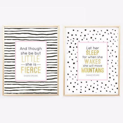 Wall and Wonder Wall Prints Let her sleep, And though she be but little  - Nursery Wall Art
