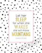 Load image into Gallery viewer, Wall and Wonder Wall Prints Let her sleep, And though she be but little  - Nursery Wall Art