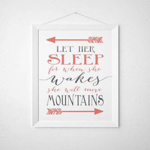Wall and Wonder Wall Prints Let Her Sleep - Grey and Coral Nursery Wall Print