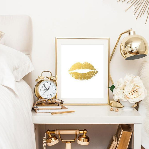 Wall and Wonder Wall Prints Lips Faux Gold Foil Print Wall Art