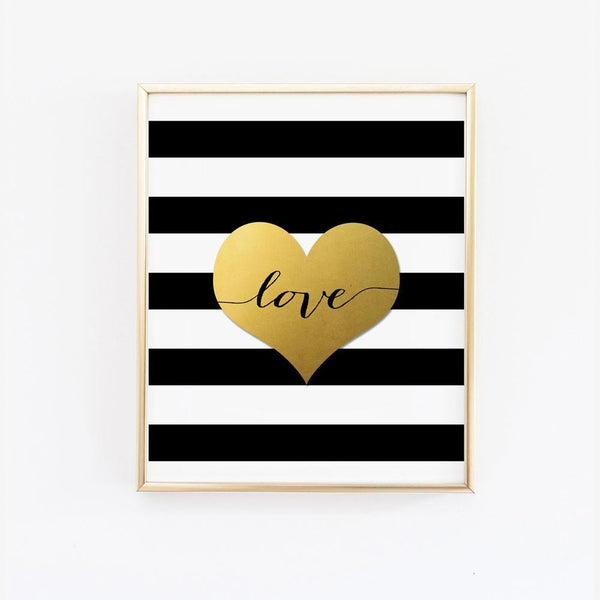 Wall and Wonder Wall Prints Love Black and White Stripes Wall Art