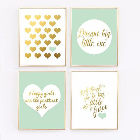 Wall and Wonder Wall Prints Mint and Gold Nursery Prints - Set of 4