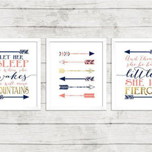 Load image into Gallery viewer, Wall and Wonder Wall Prints Navy and Coral nursery wall prints with Shakespeare/Bonaparte quotes and Arrows