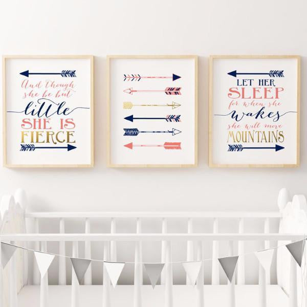 Wall and Wonder Wall Prints Navy and Coral nursery wall prints with Shakespeare/Bonaparte quotes and Arrows