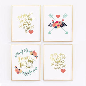 Wall and Wonder Wall Prints Navy Coral and Gold Floral Nursery Prints - Set of 4