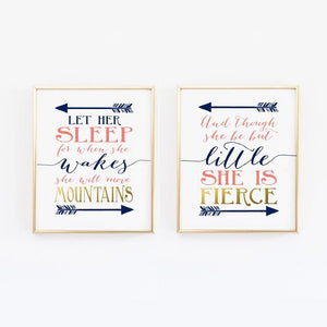 Wall and Wonder Wall Prints Navy Coral Nursery Print Set - And though she be but little/Let her sleep