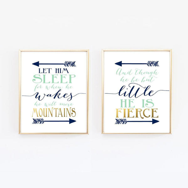Wall and Wonder Wall Prints Nursery Print Set,  And though he be but little, Let him sleep