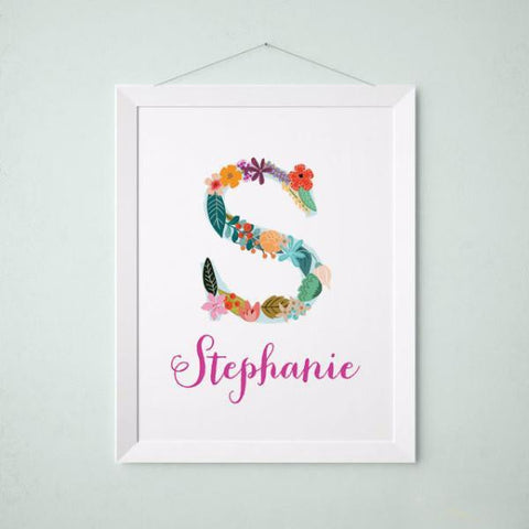 Wall and Wonder Wall Prints Personalized Baby Name Wall art - Vintage floral letters