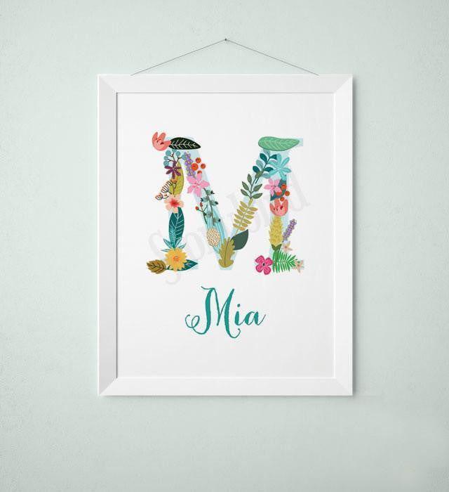 Personalized Baby Name Wall art - Vintage floral letters