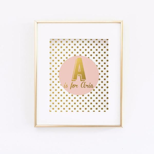 Wall and Wonder Wall Prints Personalized Pink and Gold Print - Girl Nursery Room