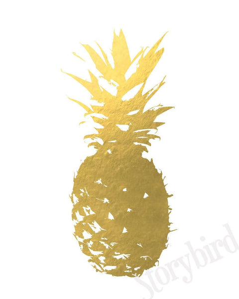 Wall and Wonder Wall Prints Pineapple Faux Gold Foil Wall Art