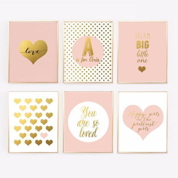 Pink And Gold Nursery Wall Art With Name