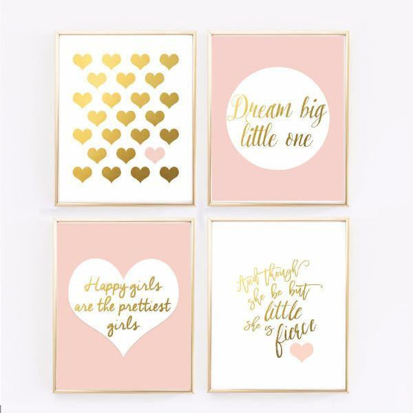 Girly Pink Nursery Decor: Blush And Gold Prints