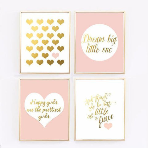 Wall and Wonder Wall Prints Pink Nursery Art - Blush and Gold Prints - Set of 4