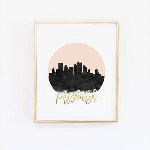 Wall and Wonder Wall Prints Pittsburgh Skyline Wall Print