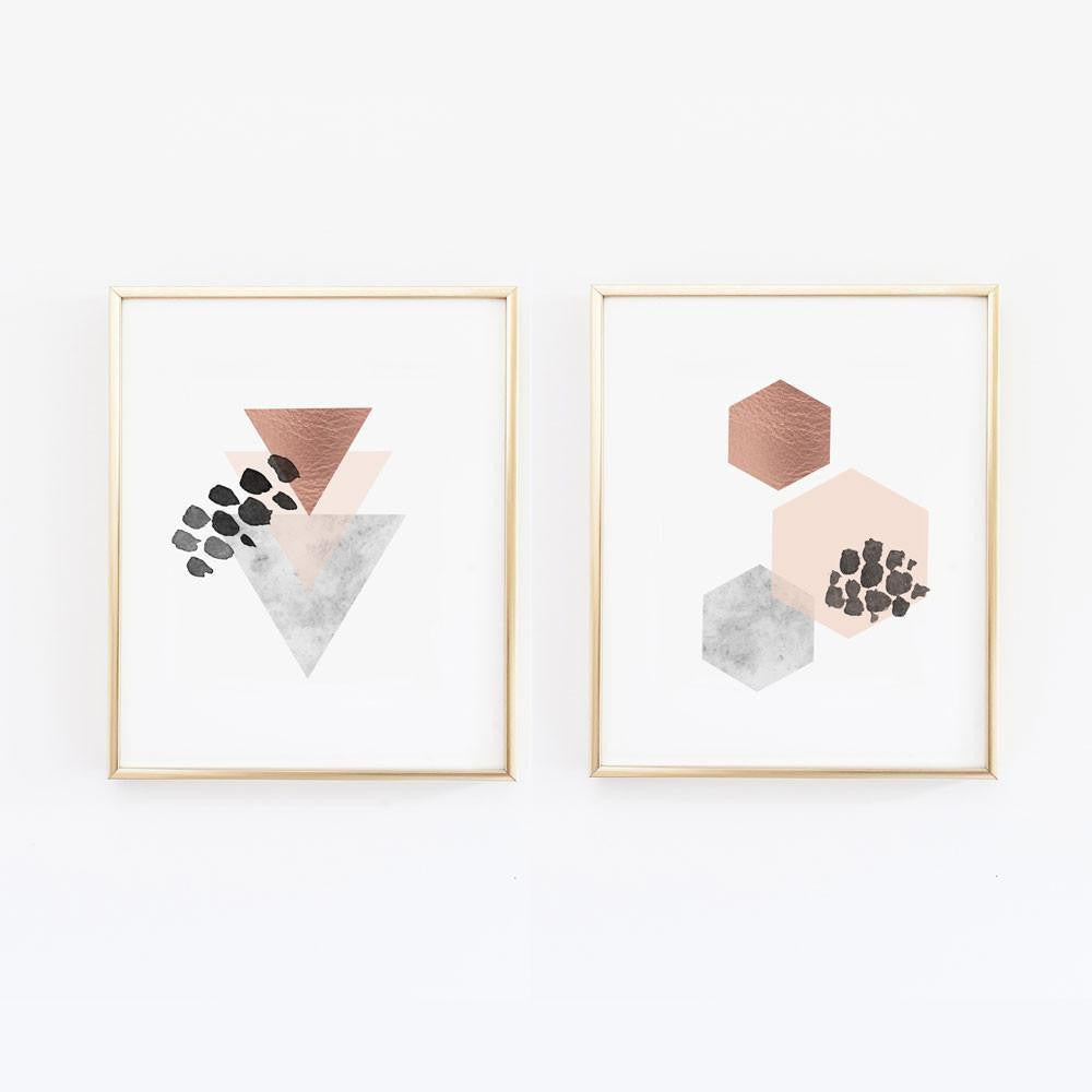 Wall and Wonder Wall Prints Scandinavian Copper Wall Art - Set of Two
