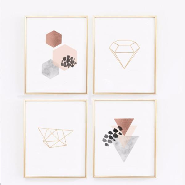 Wall and Wonder Wall Prints Scandinavian Modern Prints - Copper Wall Art - Geometric Prints -  Set of 4